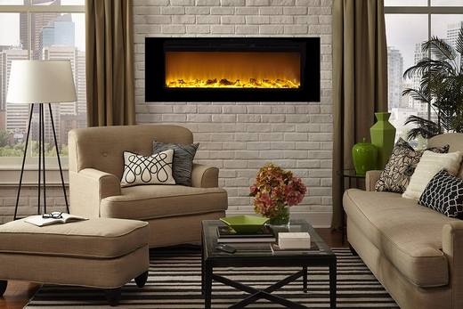Loading zoom - Sideline®60 Wall Recessed Electric Fireplace In Black