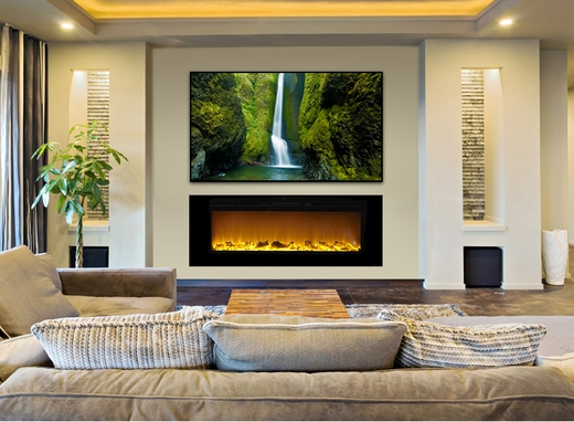 ... Recessed Electric Fireplace with Heat in Black. Loading zoom - Sideline®60 Wall Recessed Electric Fireplace In Black