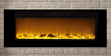 The Sideline®60 Touchstone's 60 inch Recessed Electric Fireplace with Heat in Black