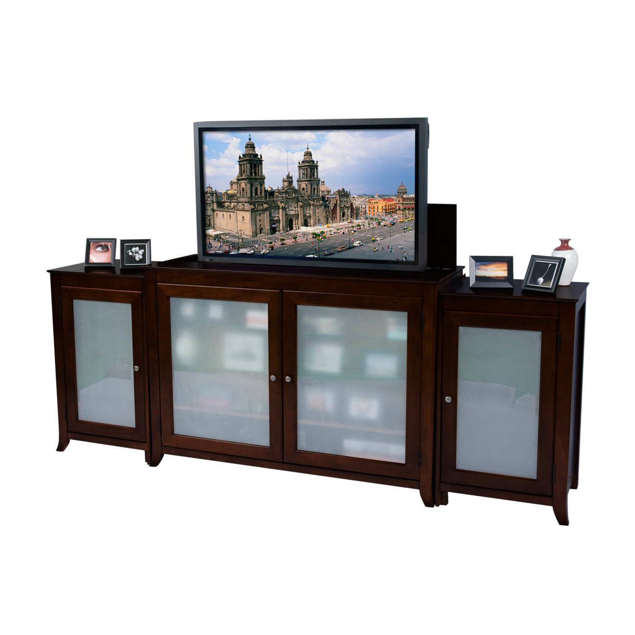 Tuscany espresso tv lift cabinet with side cabinets for for Tv lift consoles for flat screens