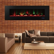 ValueLine72 10-Color, Recessed Wall Electric Fireplace, 72 Inch Wide, Logset & Crystal, 1200W Heat (Black)