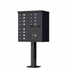12 Door Cluster Mailbox (Includes Pedestal)  by Florence Manufacturing - Black
