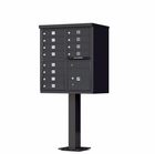 12 Door Cluster Mailbox with Pedestal - Black