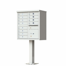 12 Door Cluster Mailbox (Includes Pedestal)  by Florence Manufacturing - Gray