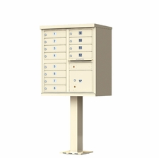 12 Door Cluster Mailbox (Includes Pedestal)  by Florence Manufacturing - Sandstone