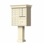 12 Door Cluster Box Unit with Pedestal - Classic Style - Sandstone
