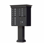 12 Door Cluster Box Unit with Pedestal - Classic Style - Black