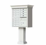 12 Door Cluster Box Unit with Pedestal - Classic Style - Gray