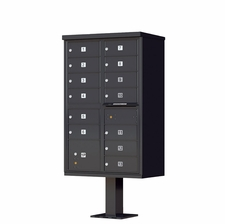 13 Door Cluster Mailbox (Includes Pedestal)  by Florence Manufacturing - Black