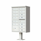 13 Door Cluster Mailbox with Pedestal - Gray