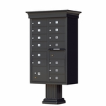 13 Door Cluster Box Unit with Pedestal - Classic Style - Black