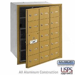 15 DOOR (14 USABLE) 4B+ HORIZONL MAILBOXES-GOLD-FRONT LOADING-A DOORS-USPS ACCESS