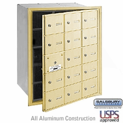 15 DOOR (14 USABLE) 4B+ HORIZONL MAILBOXES-SANDSTONE-FRONT LOADING-A DOORS-USPS ACCESS