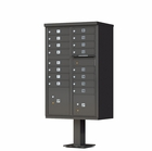 16 Door Cluster Mailbox with Pedestal - Bronze
