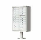 16 Door Cluster Mailbox with Pedestal - Gray