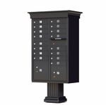 16 Door Cluster Box Unit with Pedestal - Classic Style - Black