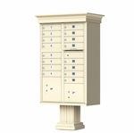 16 Door Cluster Box Unit with Pedestal - Classic Style - Sandstone