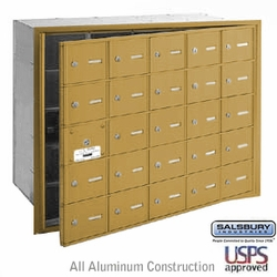 25 DOOR (24 USABLE) 4B+ HORIZONTAL MAILBOXES-GOLD- FRONT LOADING-USPS ACCESS