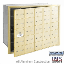 25 DOOR (24 USABLE) 4B+ HORIZONTAL MAILBOXES-SANDSTONE- FRONT LOADING-USPS ACCESS