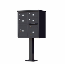 4 Door Cluster Mailbox (Includes Pedestal) by Florence Manufacturing - Black