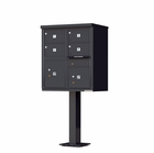 4 Door Cluster Mailbox with Pedestal - Black