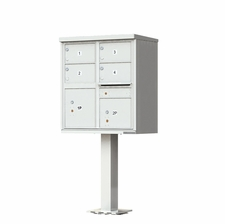 4 Door Cluster Mailbox (Includes Pedestal) by Florence Manufacturing - Gray