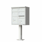 4 Door Cluster Mailbox with Pedestal - Gray
