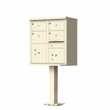 4 Door Cluster Mailbox (Includes Pedestal) by Florence Manufacturing - Sandstone