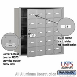 4B+ Horizontal Mailbox - 20 A Doors (19 Usable) - Front or Rear Loading - USPS Access