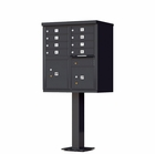 8 Door Cluster Mailbox with Pedestal - Black