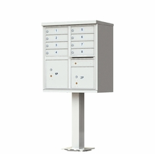 8 Door Cluster Mailbox (Includes Pedestal)  by Florence Manufacturing - Gray