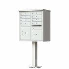 8 Door Cluster Mailbox with Pedestal - Gray