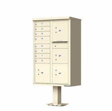 8 Door with 4 Parcels Cluster Mailbox (Includes Pedestal) by Florence Manufacturing - Sandstone
