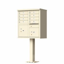 8 Door Cluster Mailbox (Includes Pedestal)  by Florence Manufacturing - Sandstone