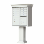 8 Door Cluster Box Unit with Pedestal - Classic Style - Gray
