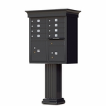 8 Door Cluster Box Unit with Pedestal - Classic Style - Black