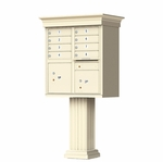8 Door Cluster Box Unit with Pedestal - Classic Style - Sandstone