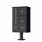 4 Parcel / 8 Door Cluster Mailbox with Pedestal - Black