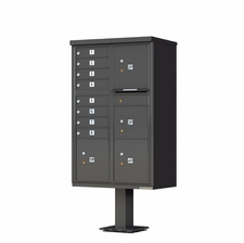 8 Door with 4 Parcels Cluster Mailbox (Includes Pedestal) by Florence Manufacturing - Dark Bronze