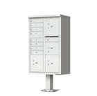 4 Parcel / 8 Door Cluster Mailbox with Pedestal - Gray