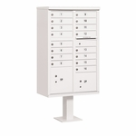 Salsbury Cluster Box Unit-16 Door (Includes Pedestal) - 16 A Size Doors - Type III - USPS Access - White