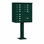 Salsbury Cluster Box Unit (Includes Pedestal) - 12 A Size Doors - Type II - USPS Access - Green