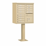 Salsbury Cluster Box Unit (Includes Pedestal) - 12 A Size Doors - Type II - USPS Access - Sand