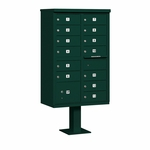Salsbury Cluster Box Unit (Includes Pedestal) - 13 B Size Doors - Type IV - USPS Access - Green