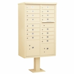 Salsbury Cluster Box Unit (Includes Pedestal) - 16 A Size Doors - Type III - USPS Access - Sand