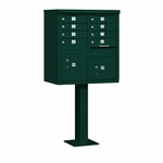 Salsbury Cluster Box Unit (Includes Pedestal) - 8 A Size Doors - Type I - USPS Access - Green