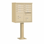 Salsbury Cluster Box Unit (Includes Pedestal) - 8 A Size Doors - Type I - USPS Access - Sand