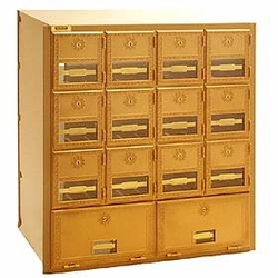 Salsbury Industries Brass Mailboxes 14 Door-Rear Loading 2014RL