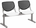 2300 KOOL Series Beam Seating with 2 Poly Black Perforated Back Seats and White Seats [2300BEAM2-BP10-SP08-IFK]