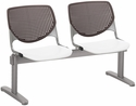 2300 KOOL Series Beam Seating with 2 Poly Brownstone Perforated Back Seats and White Seats [2300BEAM2-BP18-SP08-IFK]